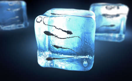 3d illustration of a sperm cells frozen into ice cube Stock Photo