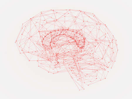 3d Illustration of a human brain consisting of lines and polygon shapes Фото со стока