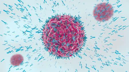 3d illustration of antibodies attacking virus cell into the bloodstream Foto de archivo
