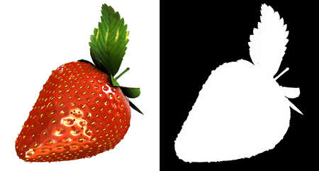 3d Illustration of a strawberry fruit with alpha channel
