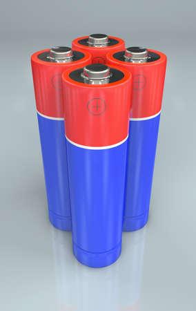 3d Illustration of four standing red and blue batteries Standard-Bild