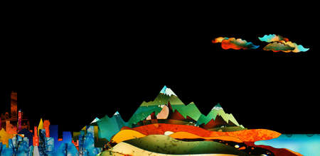 Very colorful cartoon style landscape with mountains, trees and clouds and a black sky