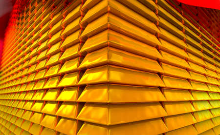 3d illustration of stacked gold bars or bullion