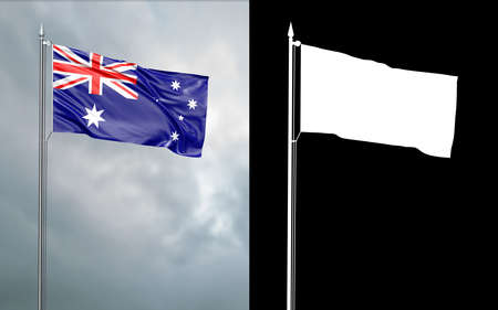 3d illustration of the state flag of the Commonwealth of the Commonwealth of Australia moving in the wind at the flagpole in front of a cloudy sky with its alpha channel Reklamní fotografie