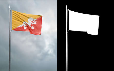 3d illustration of the state flag of the Kingdom of Bhutan moving in the wind at the flagpole in front of a cloudy sky with its alpha channel