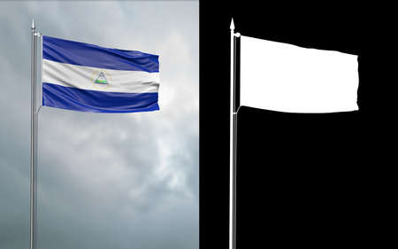 3d illustration of the state flag of the Republic of Nicaragua moving in the wind at the flagpole in front of a cloudy sky with its alpha channel