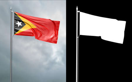 3d illustration of the state flag of Democratic Republic of East Timor moving in the wind at the flagpole in front of a cloudy sky with its alpha channel Stok Fotoğraf