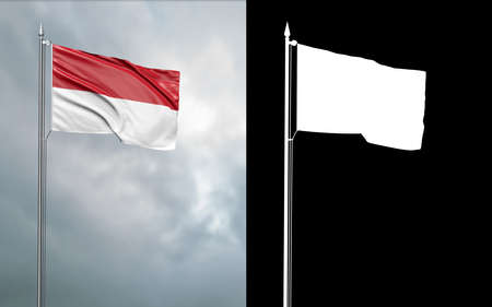 3d illustration of the state flag of the Republic of Indonesia moving in the wind at the flagpole in front of a cloudy sky with its alpha channel 免版税图像