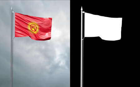 3d illustration of the state flag of the Kyrgyz Republic moving in the wind at the flagpole in front of a cloudy sky with its alpha channel