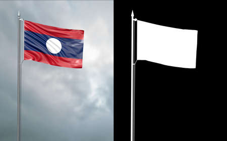 3d illustration of the state flag of the Lao People's Democratic Republic moving in the wind at the flagpole in front of a cloudy sky with its alpha channel