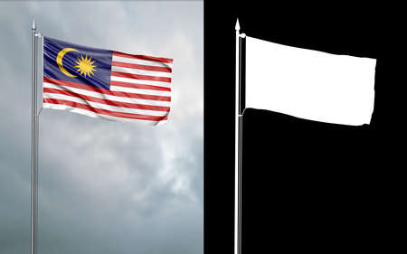 3d illustration of the state flag of the Malaysia Federation moving in the wind at the flagpole in front of a cloudy sky with its alpha channel