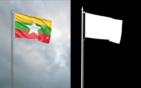 3d illustration of the state flag of the Republic of the Union of Myanmar moving in the wind at the flagpole in front of a cloudy sky with its alpha channel