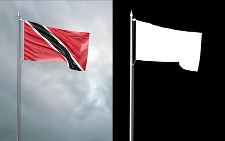 3d illustration of the state flag of the Republic of Trinidad and Tobago moving in the wind at the flagpole in front of a cloudy sky with its alpha channel