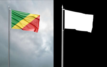3d illustration of the state flag of the Republic of the Congo moving in the wind at the flagpole in front of a cloudy sky with its alpha channel