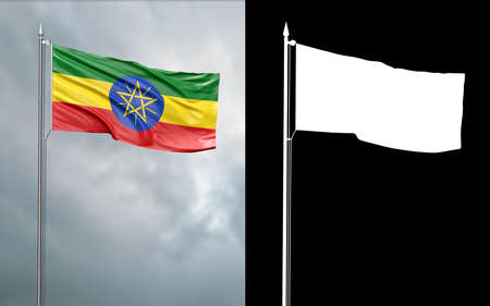 3d illustration of the state flag of the Federal Democratic Republic of Ethiopia moving in the wind at the flagpole in front of a cloudy sky with its alpha channel Stok Fotoğraf