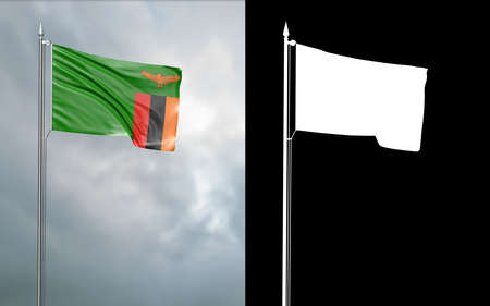 3d illustration of the state flag of the Republic of Zambia moving in the wind at the flagpole in front of a cloudy sky with its alpha channel Stok Fotoğraf
