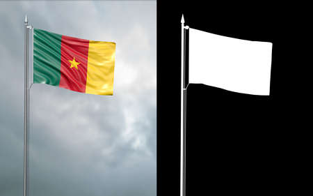 3d illustration of the state flag of the Republic of Cameroon moving in the wind at the flagpole in front of a cloudy sky with its alpha channel Stok Fotoğraf