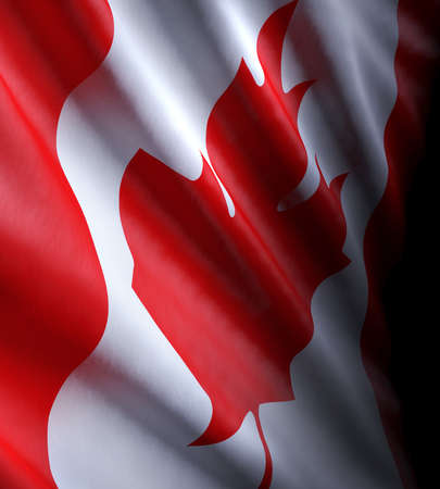 3d illustration of a close-up of the Canadian state flag moving wave-like in the wind