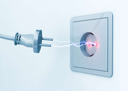 3d illustration of a current spark between a power plug and a socket outlet