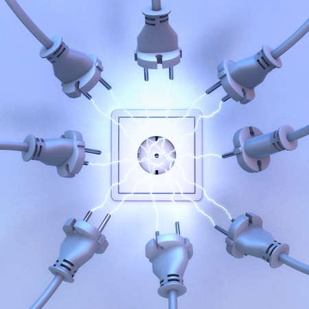 3d illustration of a current spark between a large number of current plugs and a socket outlet Фото со стока