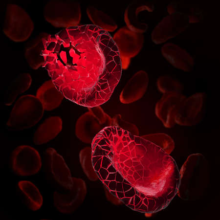 3d illustration of red blood cells disintegrating into parts