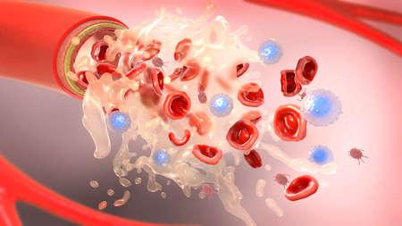 Illustrazione 3d del plasma sanguigno e dei componenti del sangue che scorrono da un'arteria