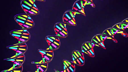 3d illustration of a multicolored neon light-like twisted DNA strand made of glass and metal