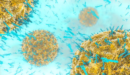 3d illustration of antibodies attacking virus cell into the bloodstream Foto de archivo - 118667308