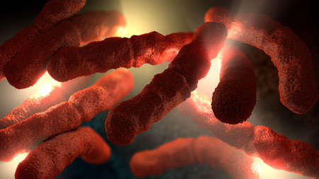 3d illustration of an extreme close-up of red colored rod-shaped bacteria