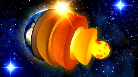 3d illustration of a cross-section and the structure of the earth from inner core to crust Stock Photo