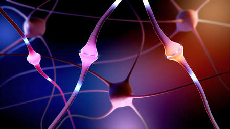 3d illustration of a synapse part of a neuron or nerve cell
