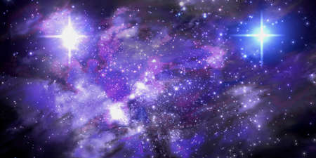 3d Illustration of a fictitious star-field, dark nebulae, bright sun and galaxies Stock Photo