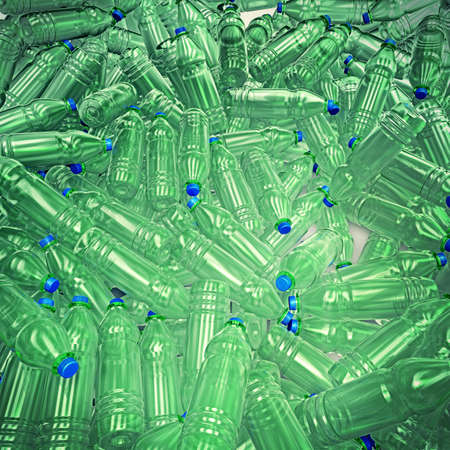 3d illustration of hundreds of plastic drinking bottles wildly mixed up on a big heap