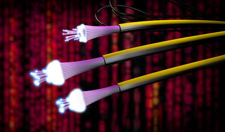 3d illustration of optical light guide cables in different colors with open ends which shine very brightly