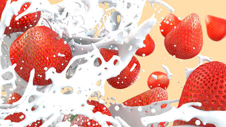 3d illustration of a close-up of a fruit drink with cream and strawberries