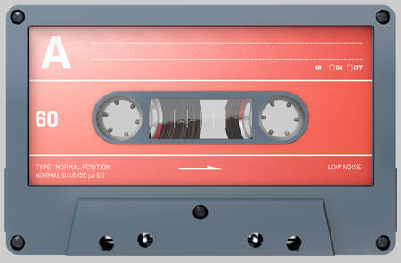 3d illustration of a black audio cassette with sticker and label Stok Fotoğraf