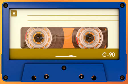 3d illustration of a blue audio cassette with sticker and label Reklamní fotografie