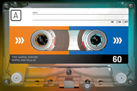 3d illustration of a transparent audio cassette with sticker and label Stok Fotoğraf
