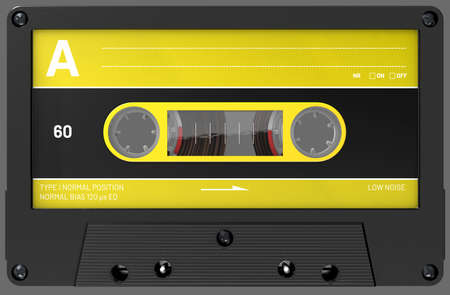 3d illustration of an yellow and black audio cassette with sticker and label