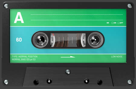 3d illustration of an green,blue and black audio cassette with sticker and label