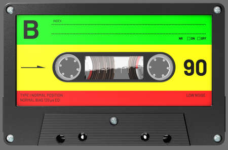 3d illustration of an rastafarian colored audio cassette with sticker and label