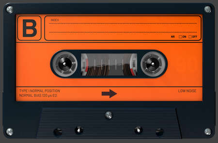 3d illustration of an orange and black audio cassette with sticker and label
