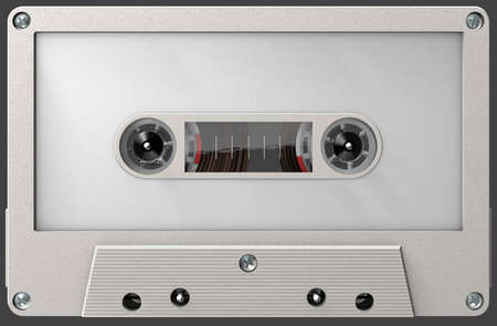 3d illustration of a white blank audio cassette with sticker and label