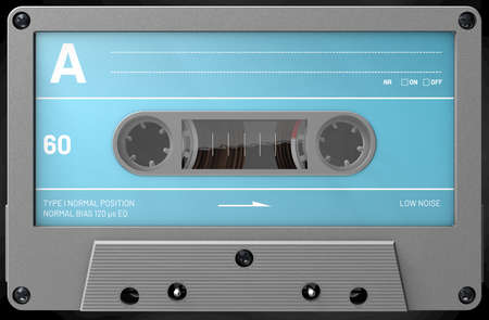 3d illustration of a grey audio cassette with sticker and label Stok Fotoğraf