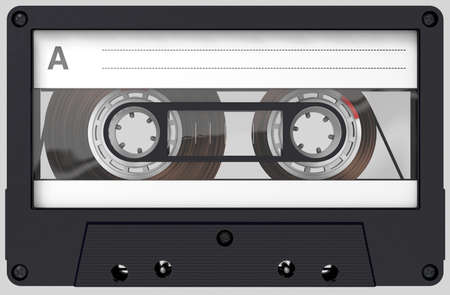 3d illustration of a black and transparent audio cassette with sticker and label