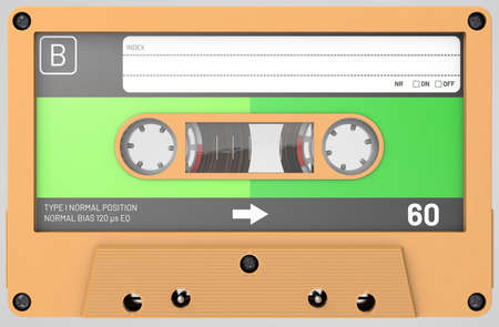 3d illustration of a orange audio cassette with sticker and label
