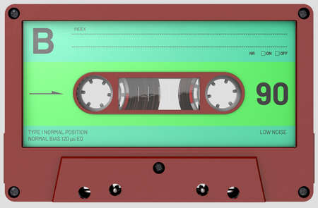 3d illustration of a red audio cassette with sticker and label Banco de Imagens