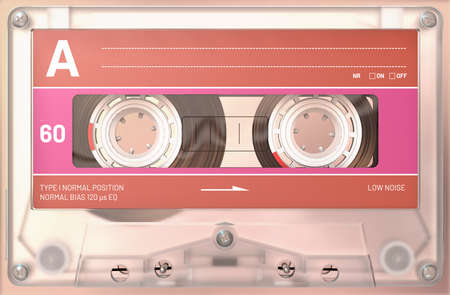 3d illustration of a transparent audio cassette with sticker and label 写真素材