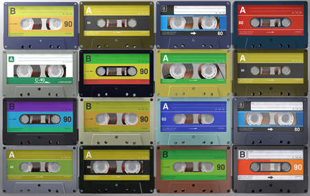 3d illustration a lot of retro and vintage audio cassettes or audio tapes in different colored labels