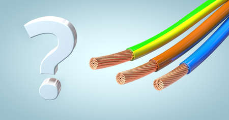 stripped power cables or power supply in the standard colors next to a question mark - 3d illustration